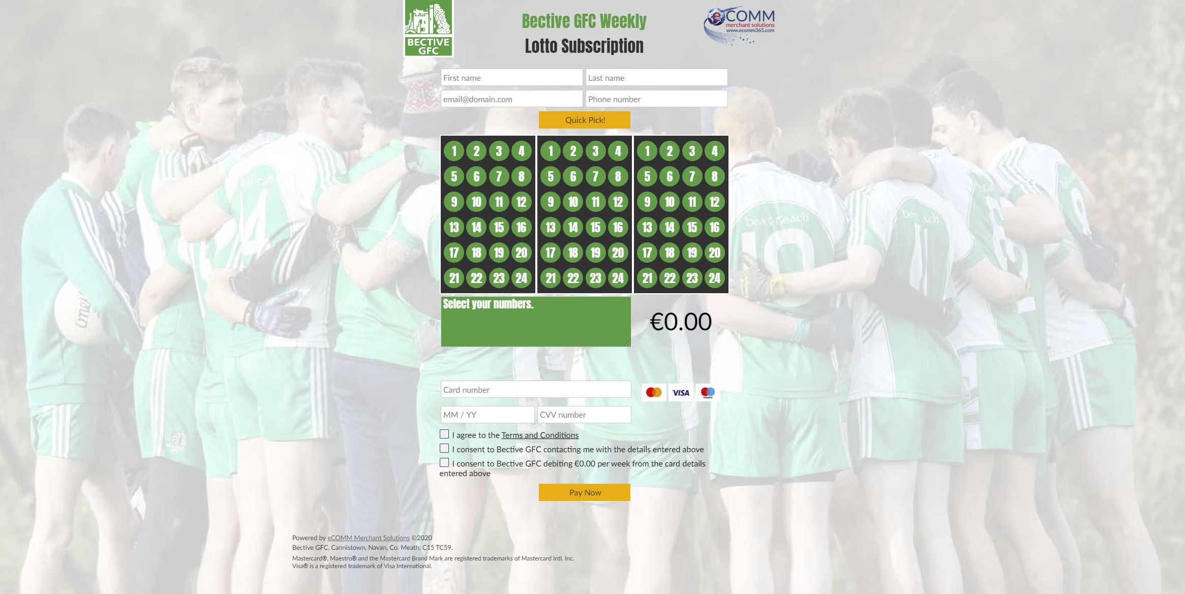Bective GFC Lotto starting Tues 7th July with a jackpot of €5300