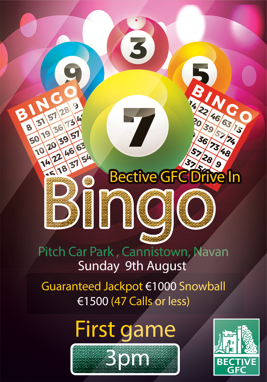 BEEP BEEP Drive in Bingo – Sunday  9th August at 3pm